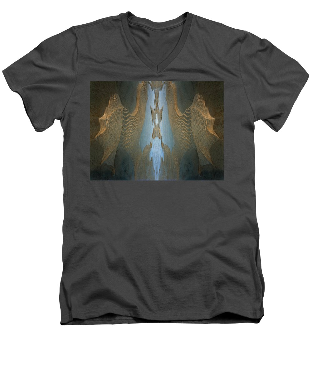 Rocks Men's V-Neck T-Shirt featuring the photograph Rock Gods Seabird Of Old Orchard by Nancy Griswold