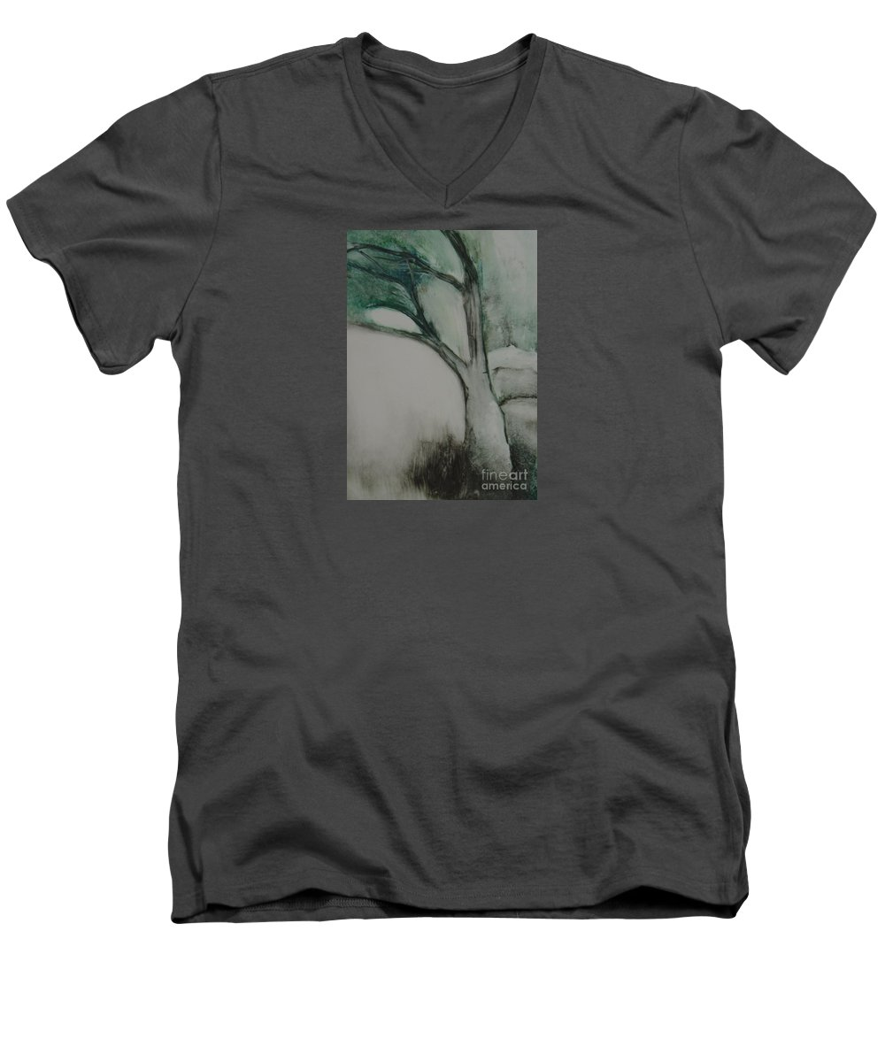 Monoprint Tree Rock Trees Men's V-Neck T-Shirt featuring the painting Rock Tree by Leila Atkinson