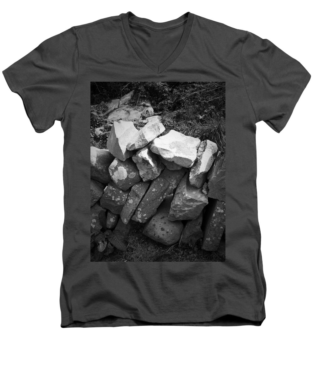 Irish Men's V-Neck T-Shirt featuring the photograph Rock Wall Doolin Ireland by Teresa Mucha