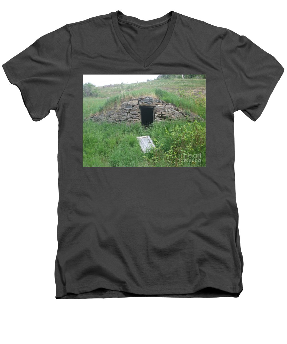 Photograph Cellar Old Green Newfoundland Men's V-Neck T-Shirt featuring the photograph Root Cellar by Seon-Jeong Kim