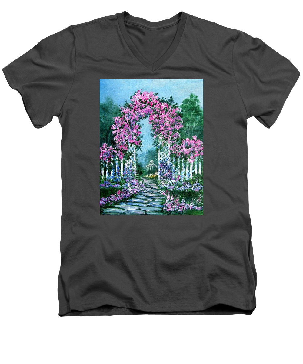 Roses;floral;garden;picket Fence;arch;trellis;garden Walk;flower Garden; Men's V-Neck T-Shirt featuring the painting Rose-covered Trellis by Lois Mountz
