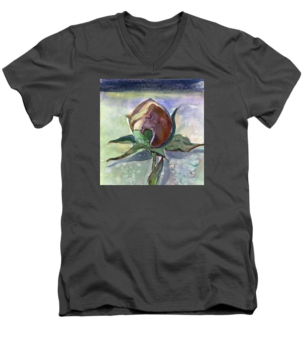 Rose Men's V-Neck T-Shirt featuring the painting Rose In The Snow by Mindy Newman