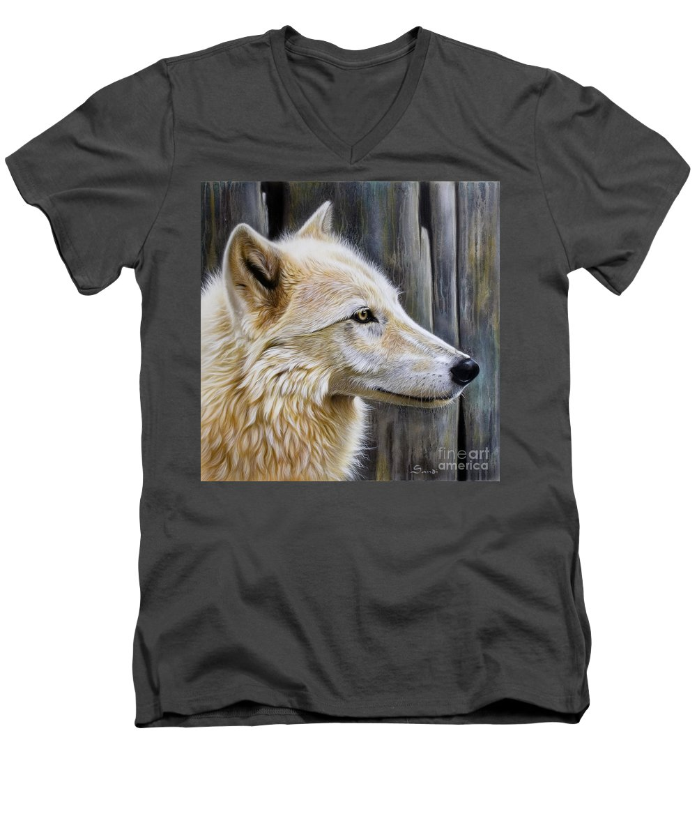 Wolves Men's V-Neck T-Shirt featuring the painting Rose by Sandi Baker
