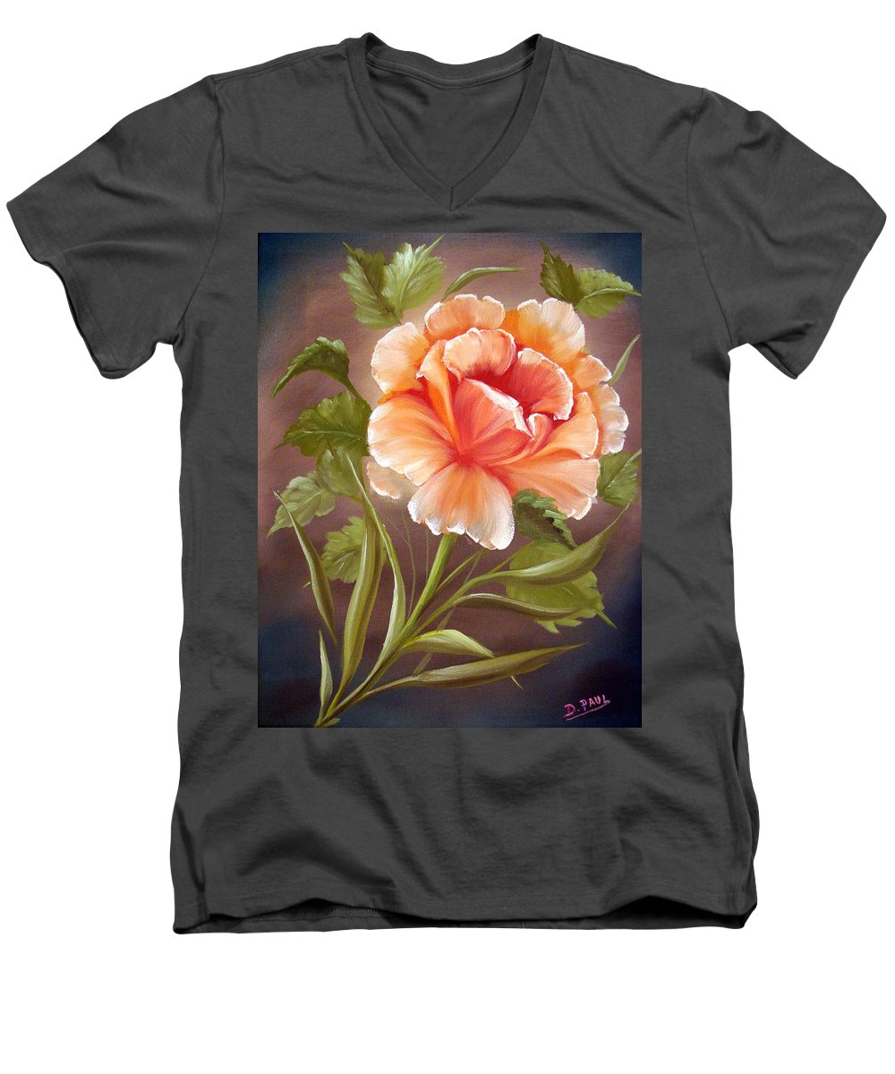 Rose Men's V-Neck T-Shirt featuring the painting Rose Tropicana by David G Paul