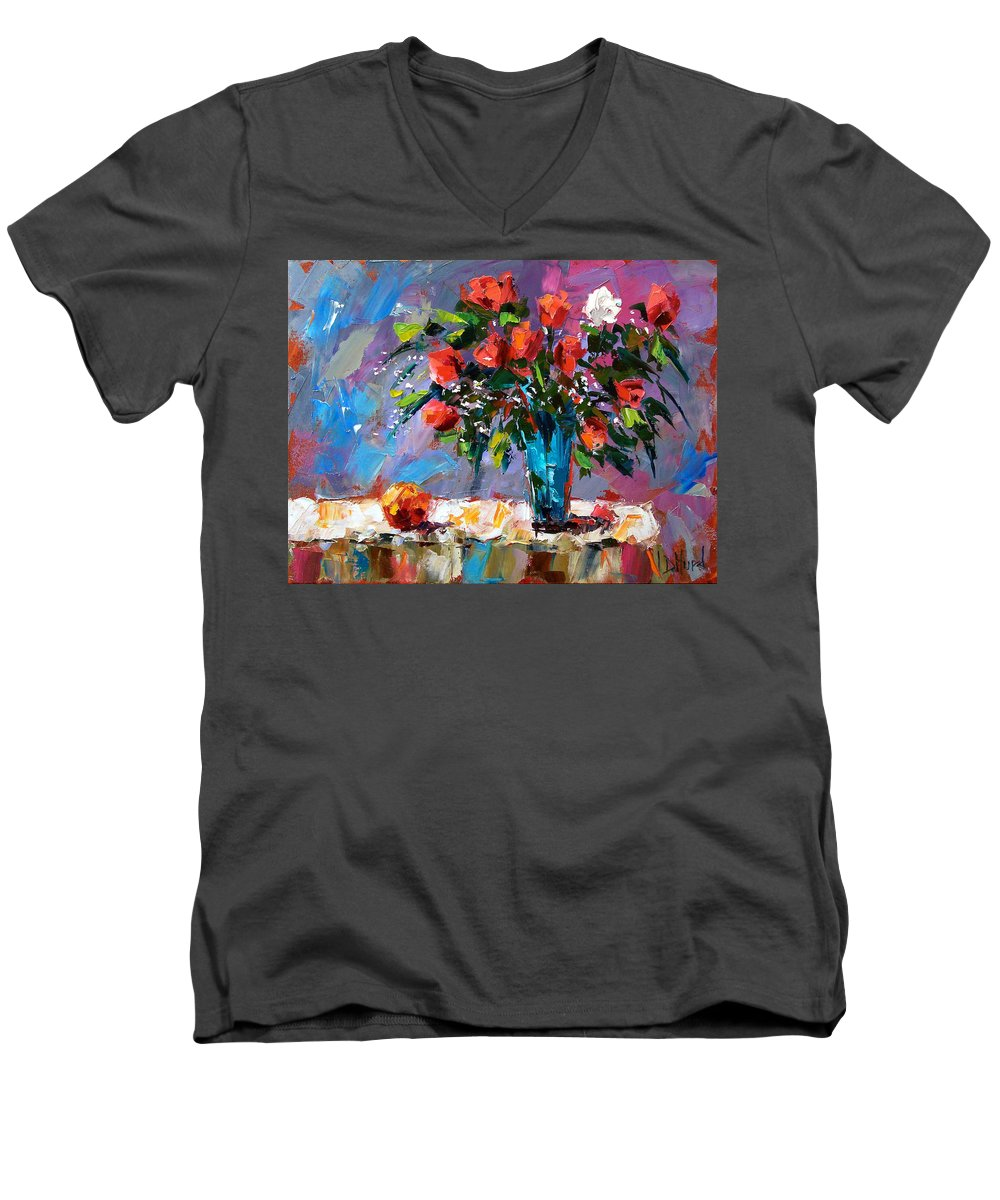 Flowers Men's V-Neck T-Shirt featuring the painting Roses And A Peach by Debra Hurd