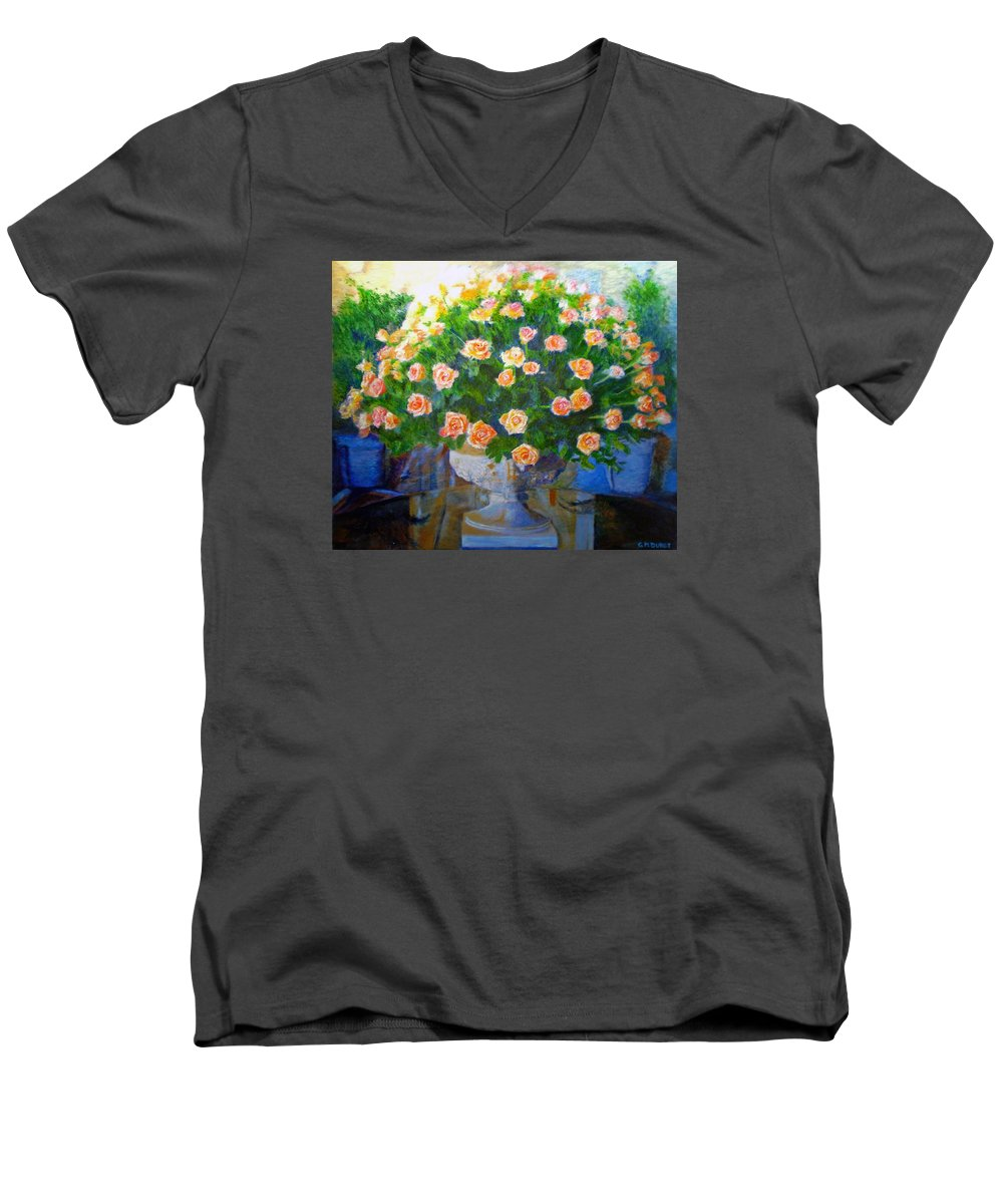 Rose Men's V-Neck T-Shirt featuring the painting Roses At Table Bay by Michael Durst