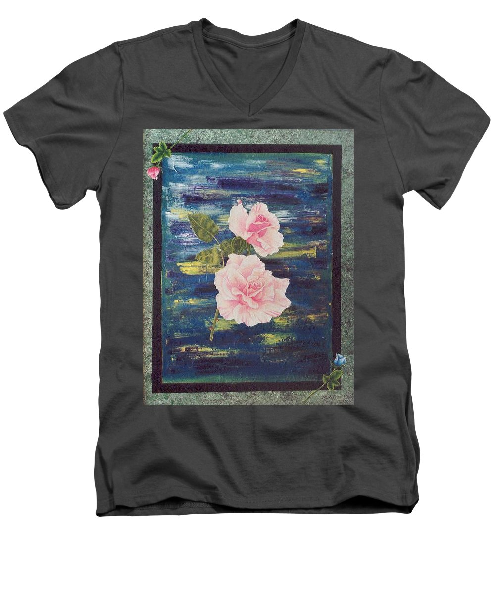 Rose Men's V-Neck T-Shirt featuring the painting Roses by Micah Guenther