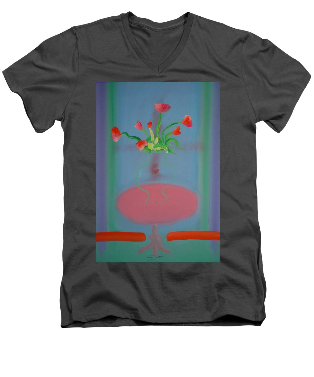 Flower Men's V-Neck T-Shirt featuring the painting Rouseau Flowers by Charles Stuart