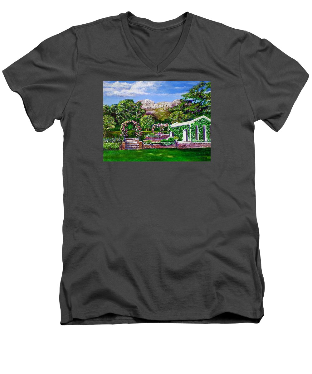 Landscape Men's V-Neck T-Shirt featuring the painting Rozannes Garden by Michael Durst