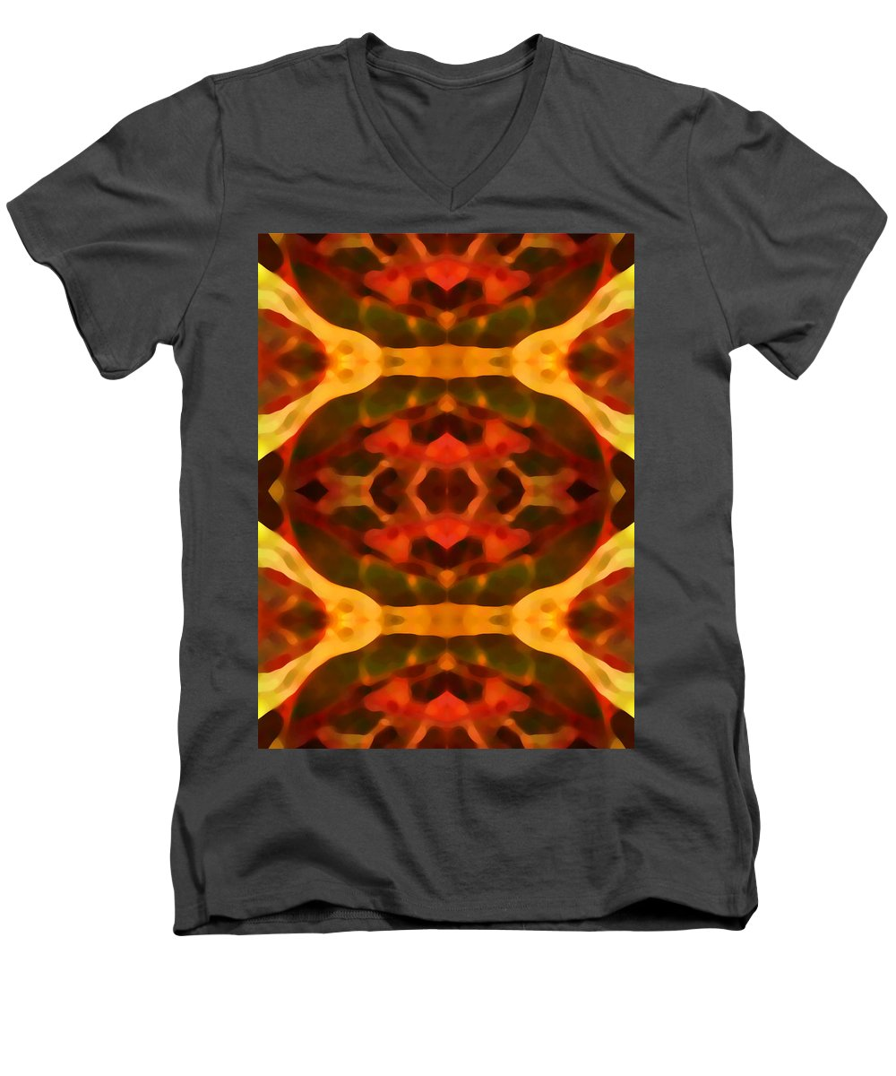 Abstract Painting Men's V-Neck T-Shirt featuring the digital art Ruby Crystal Pattern by Amy Vangsgard