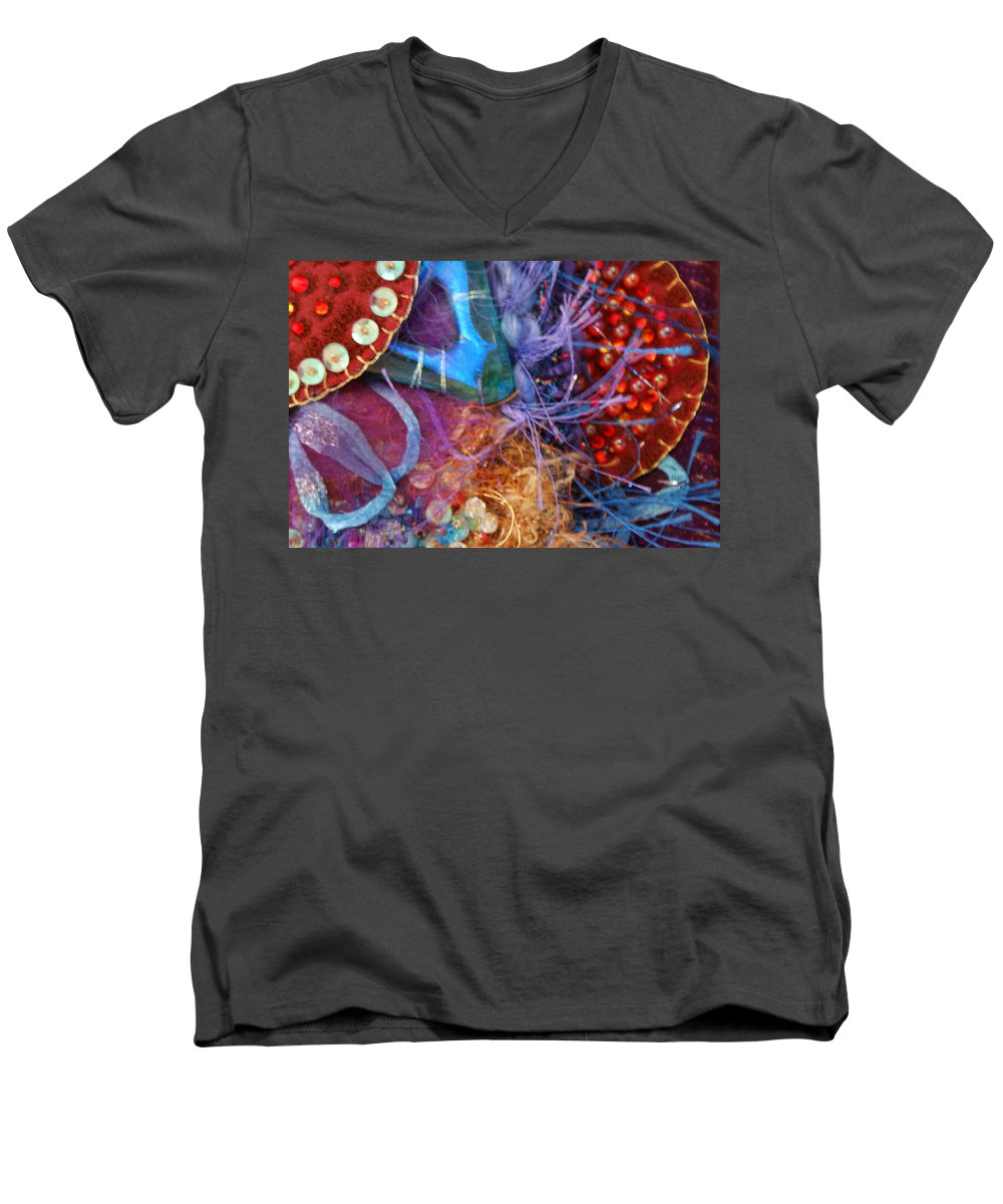 Men's V-Neck T-Shirt featuring the mixed media Ruby Slippers 6 by Judy Henninger
