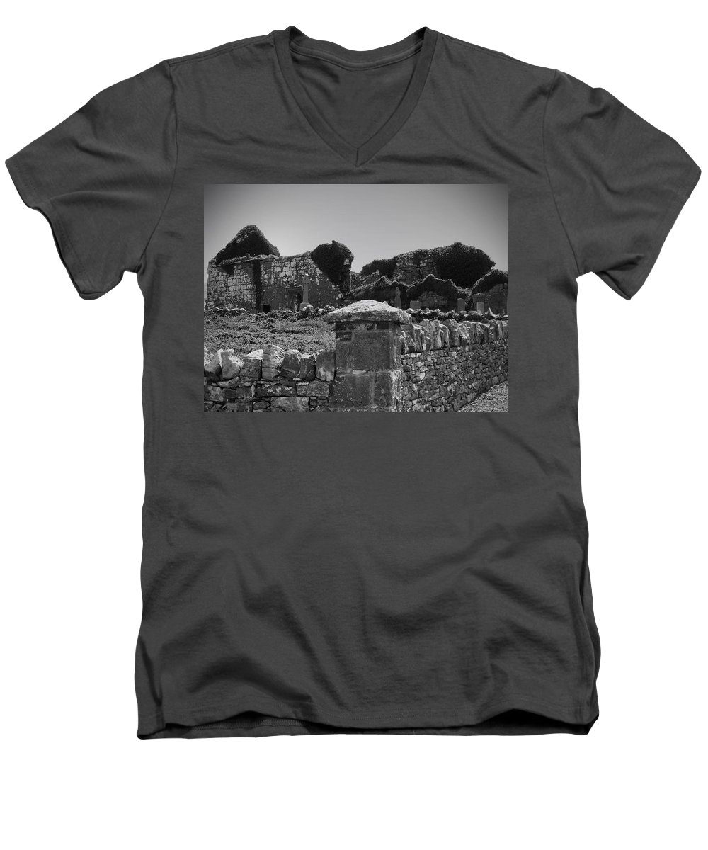 Irish Men's V-Neck T-Shirt featuring the photograph Ruins In The Burren County Clare Ireland by Teresa Mucha
