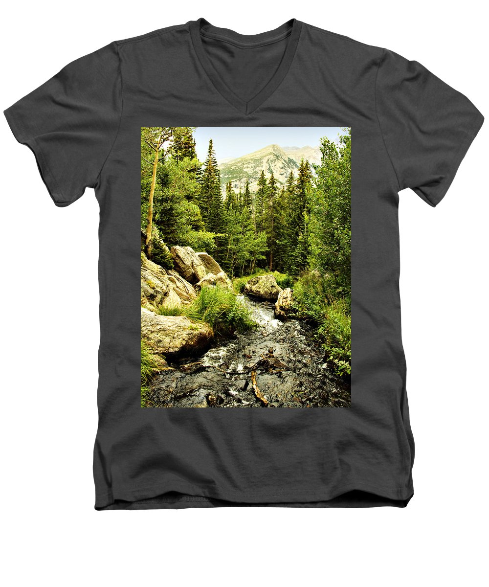 Colorado Men's V-Neck T-Shirt featuring the photograph Running River by Marilyn Hunt