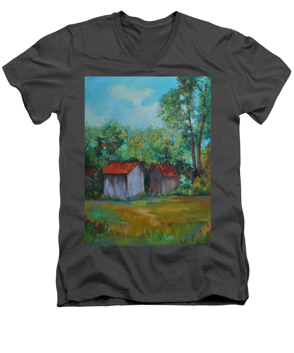 Outbuildings Men's V-Neck T-Shirt featuring the painting Rural Architecture by Ginger Concepcion