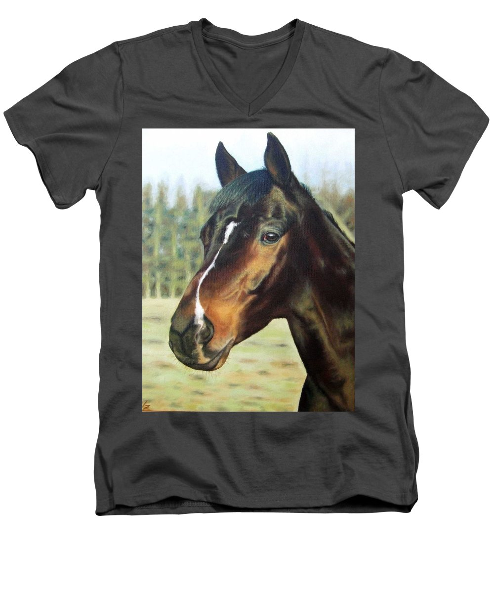 Horse Men's V-Neck T-Shirt featuring the painting Russian Horse by Nicole Zeug