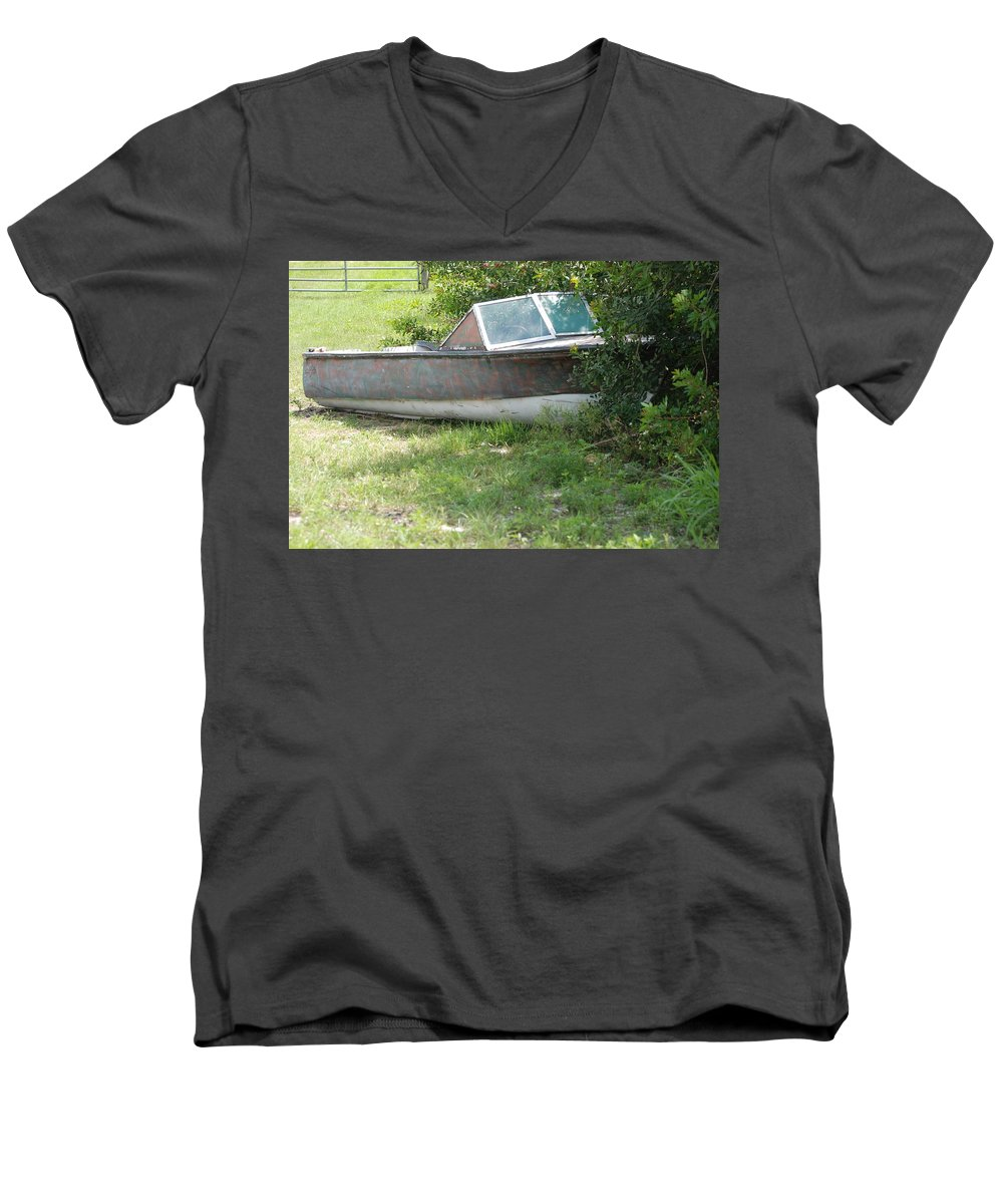 Boat Men's V-Neck T-Shirt featuring the photograph S S Minnow by Rob Hans