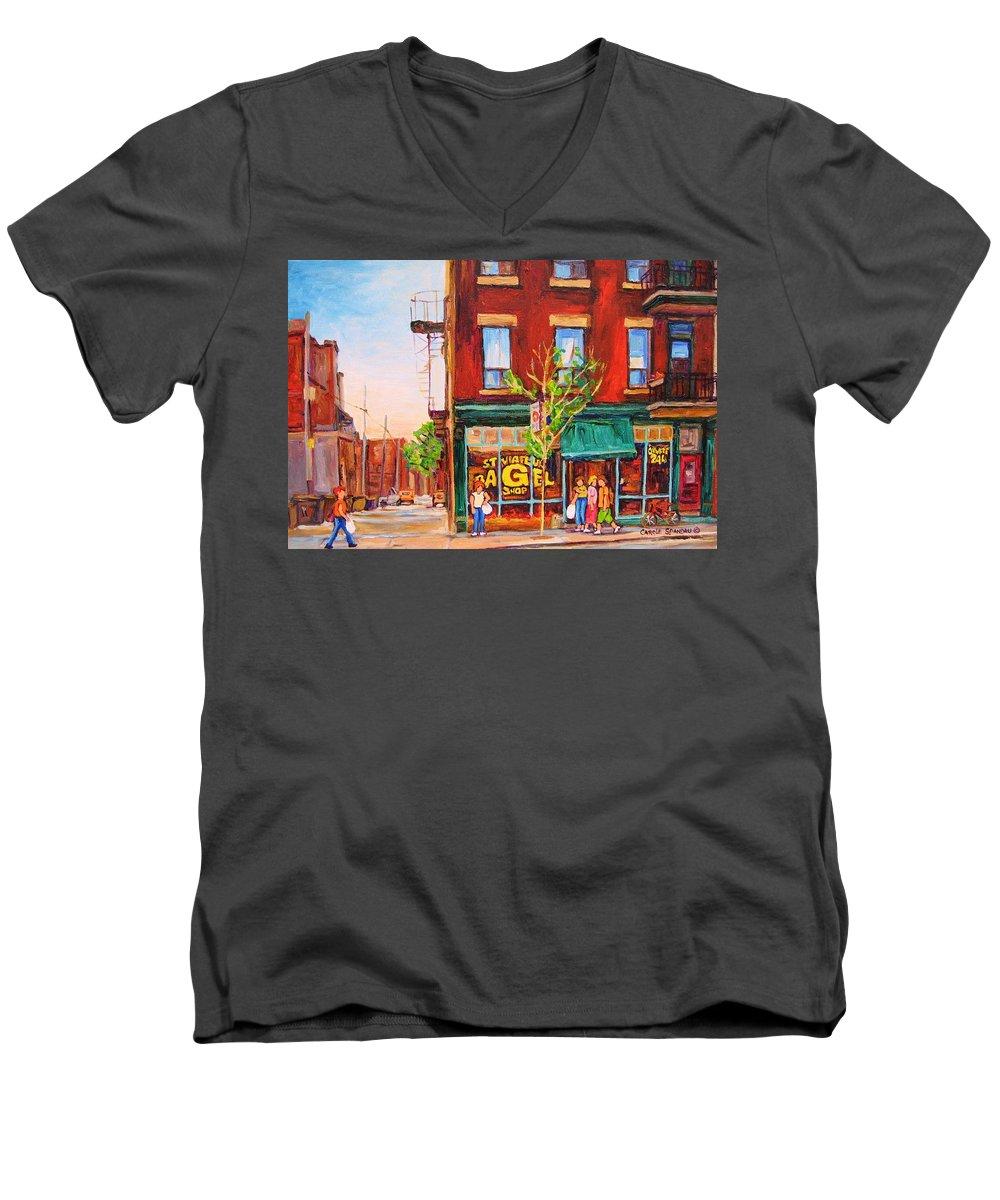 Montreal Men's V-Neck T-Shirt featuring the painting Saint Viateur Bagel by Carole Spandau