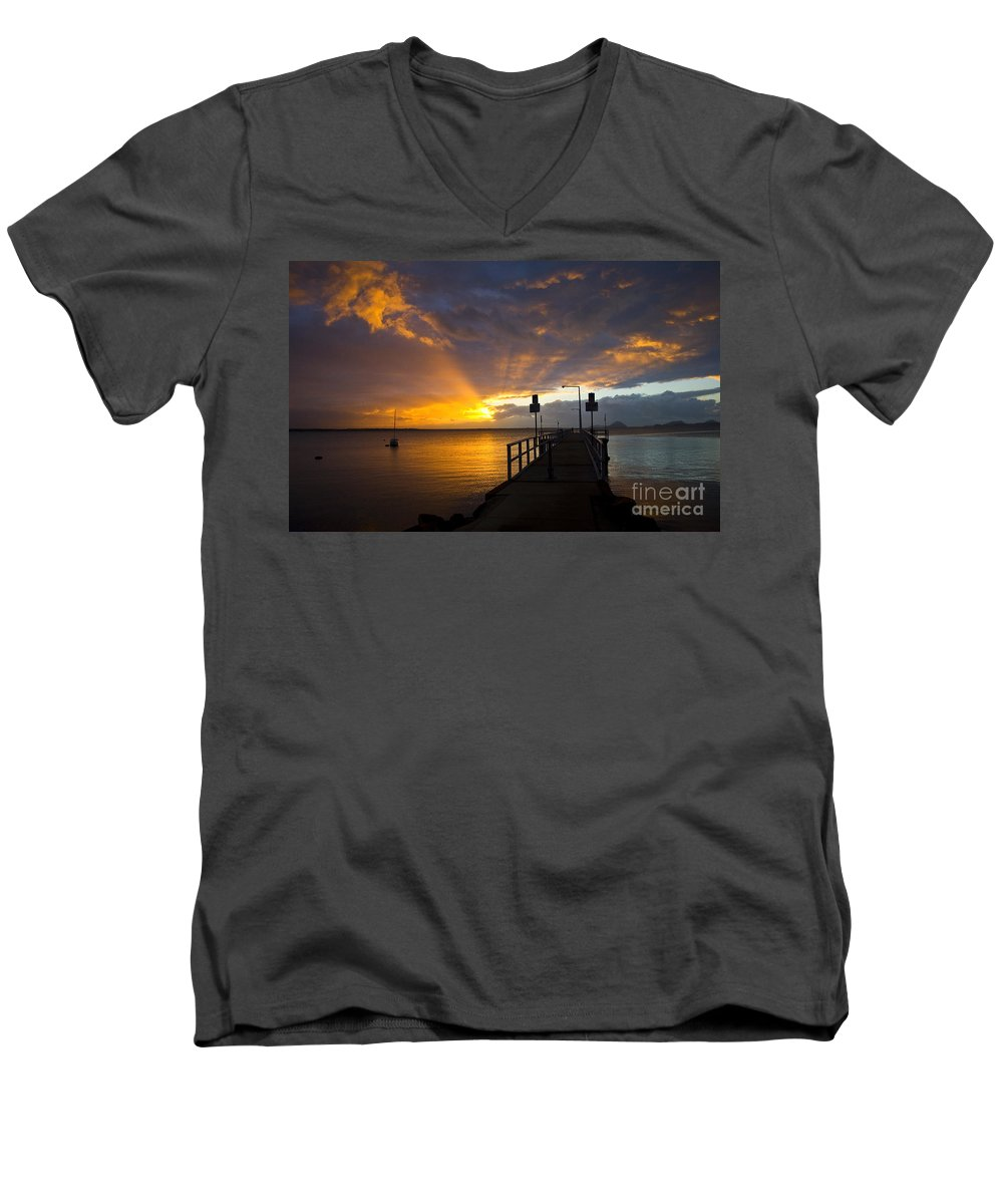Sunrise Men's V-Neck T-Shirt featuring the photograph Salamander Bay Sunrise by Sheila Smart Fine Art Photography