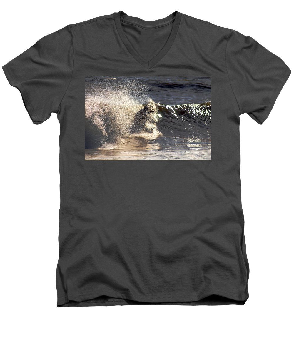 Clay Men's V-Neck T-Shirt featuring the photograph Salt Spray Surfing by Clayton Bruster