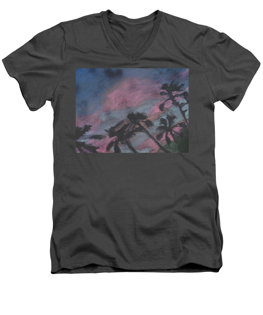 Contemporary Tree Landscapes Men's V-Neck T-Shirt featuring the drawing San Diego Palms by Leah Tomaino