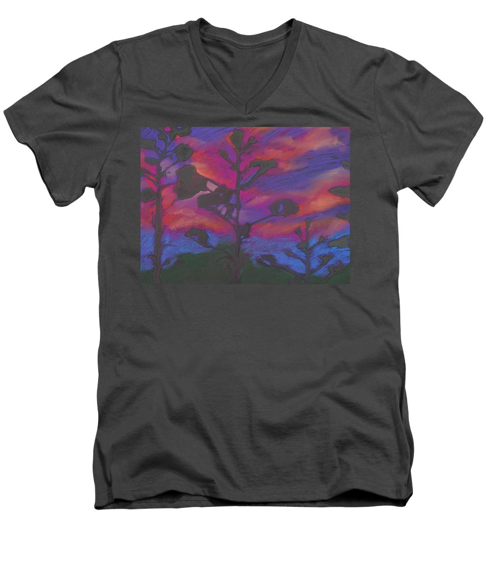 Contemporary Tree Landscape Men's V-Neck T-Shirt featuring the mixed media San Diego Sunset by Leah Tomaino