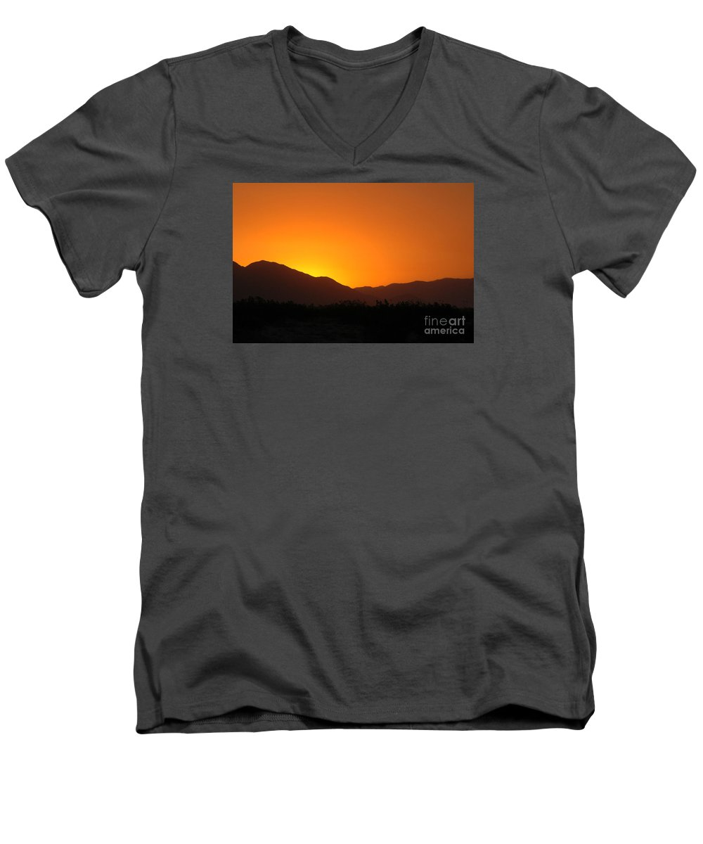 Sunset Men's V-Neck T-Shirt featuring the photograph San Jacinto Dusk Near Palm Springs by Michael Ziegler
