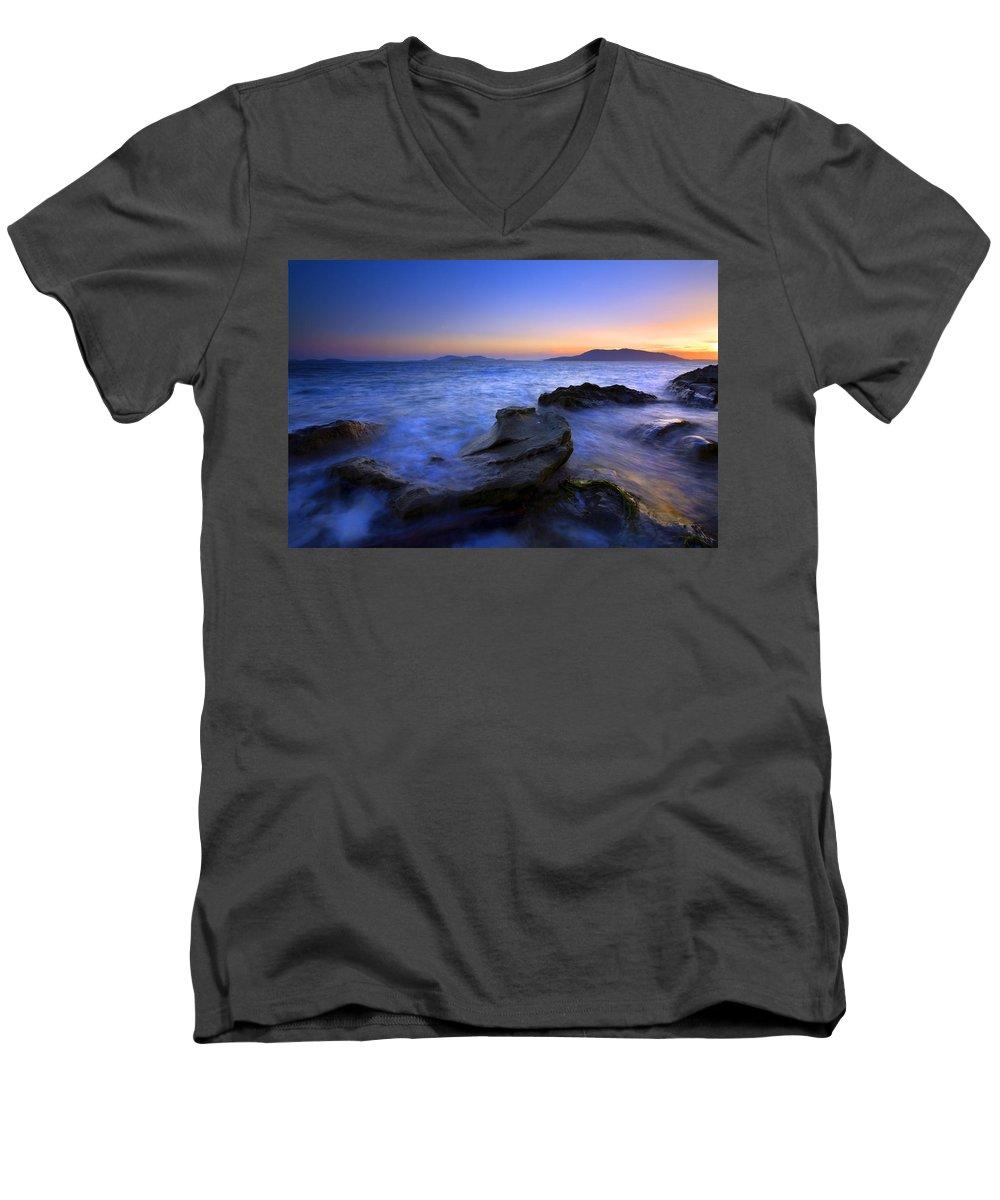 Sunset Men's V-Neck T-Shirt featuring the photograph San Juan Sunset by Mike Dawson