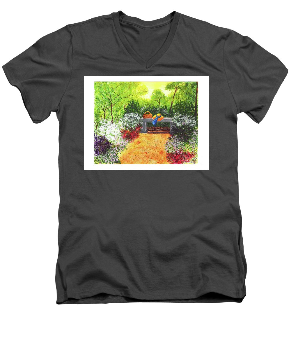Garden Painting Men's V-Neck T-Shirt featuring the painting Sanctuary by Patricia Griffin Brett