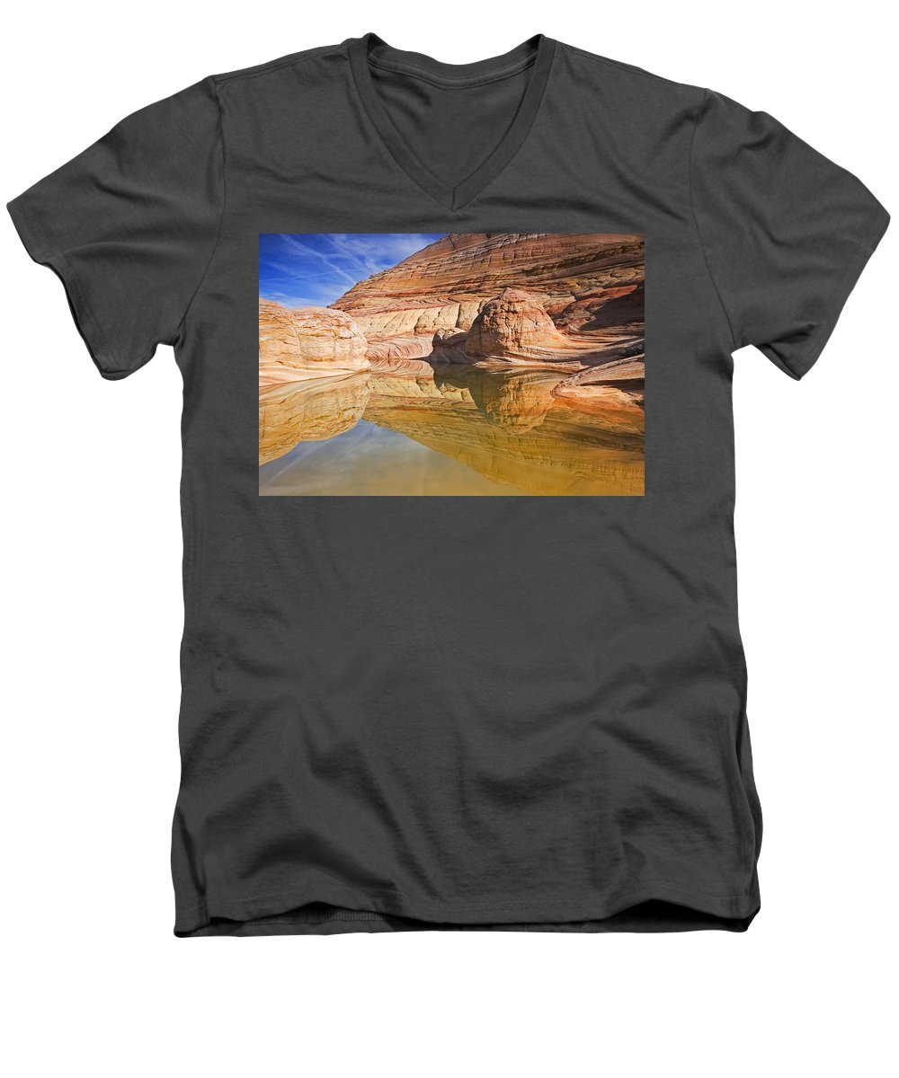 Pool Men's V-Neck T-Shirt featuring the photograph Sandstone Illusions by Mike Dawson