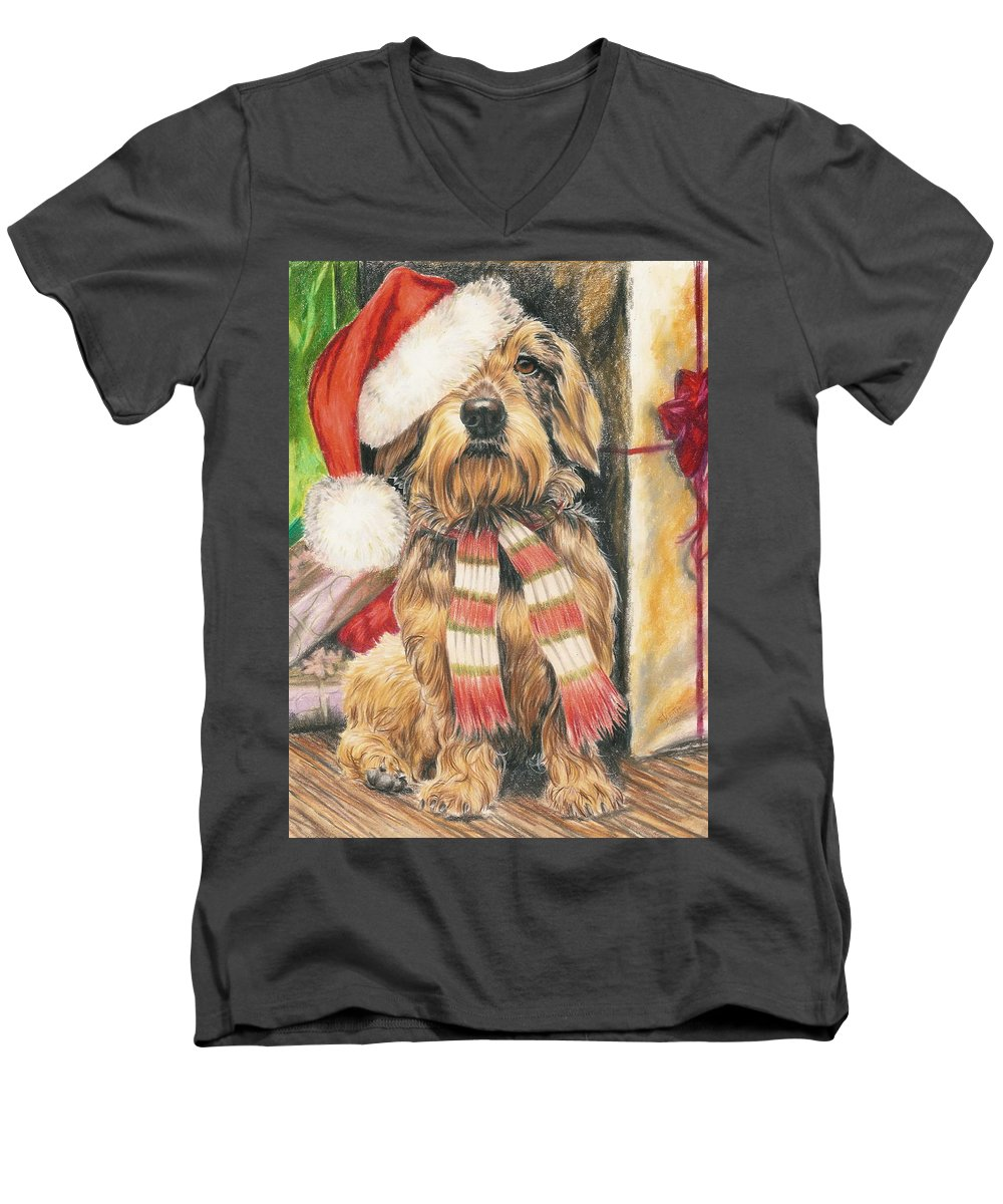 Hound Group Men's V-Neck T-Shirt featuring the drawing Santas Little Yelper by Barbara Keith