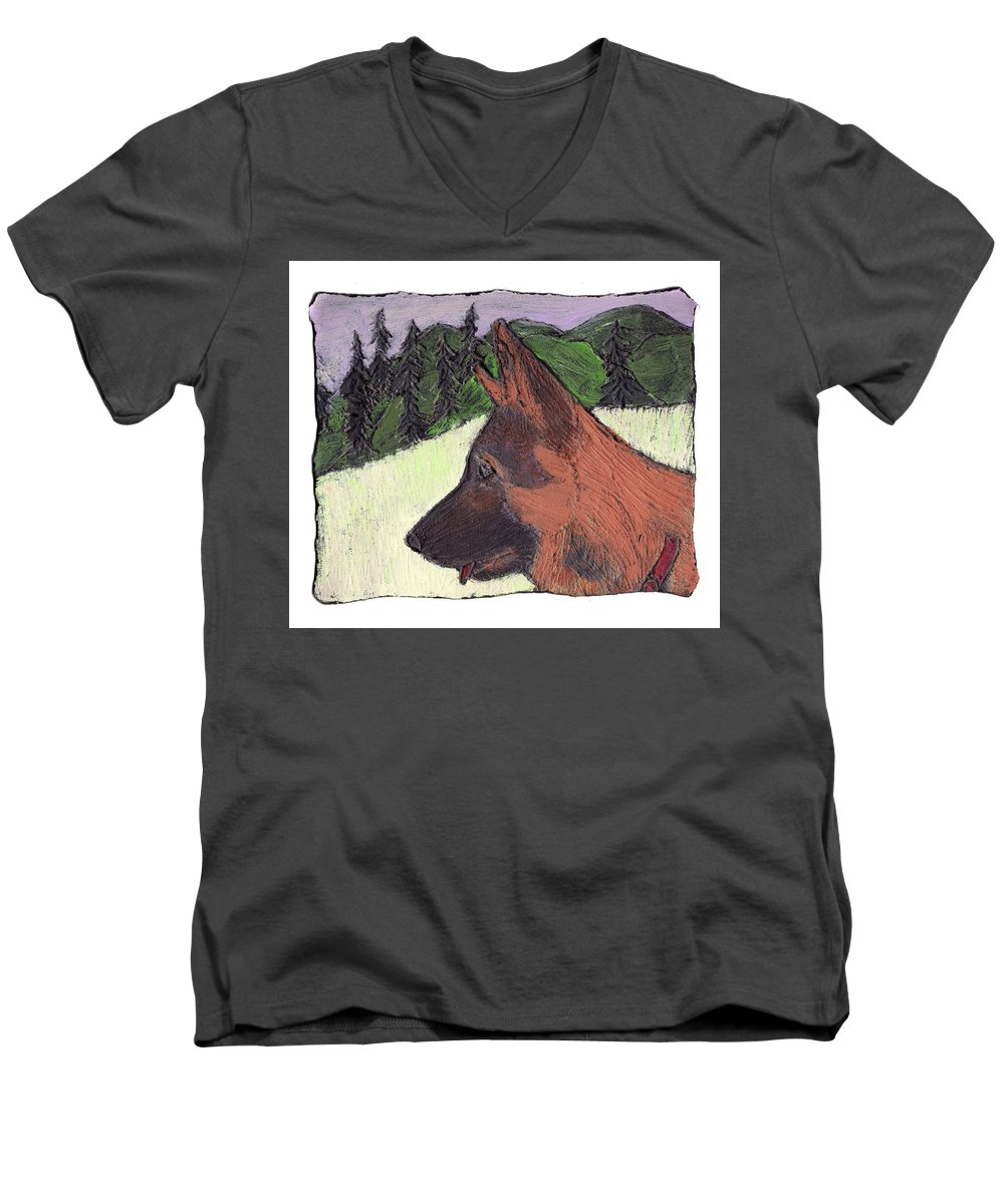 Dog Men's V-Neck T-Shirt featuring the painting Sarge by Wayne Potrafka