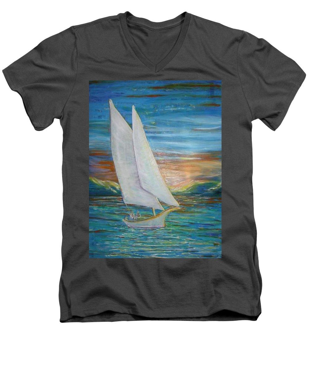 Sailboat Men's V-Neck T-Shirt featuring the painting Saturday Sail by Regina Walsh