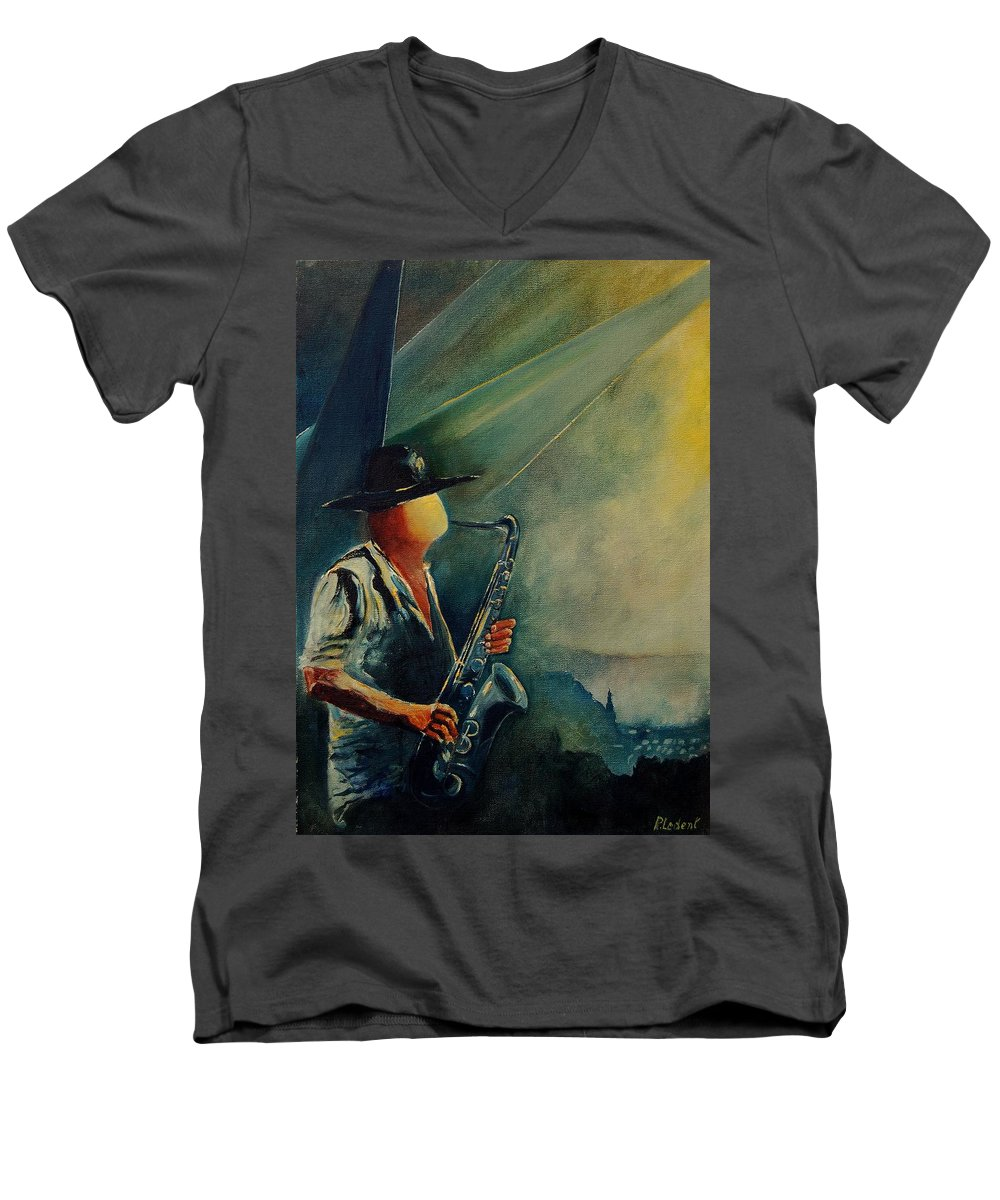 Music Men's V-Neck T-Shirt featuring the painting Sax Player by Pol Ledent