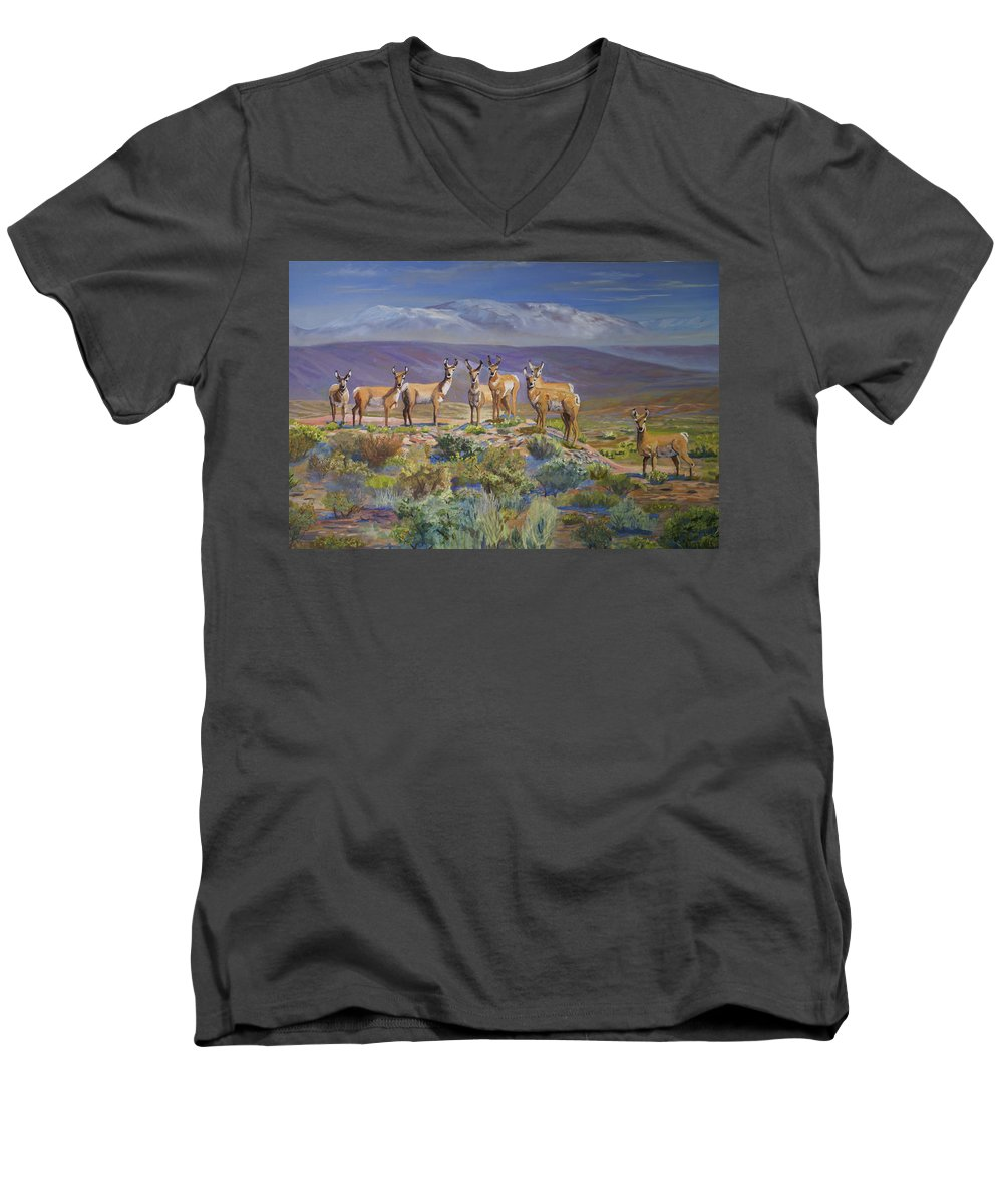 Antelope Men's V-Neck T-Shirt featuring the painting Say Cheese Antelope by Heather Coen