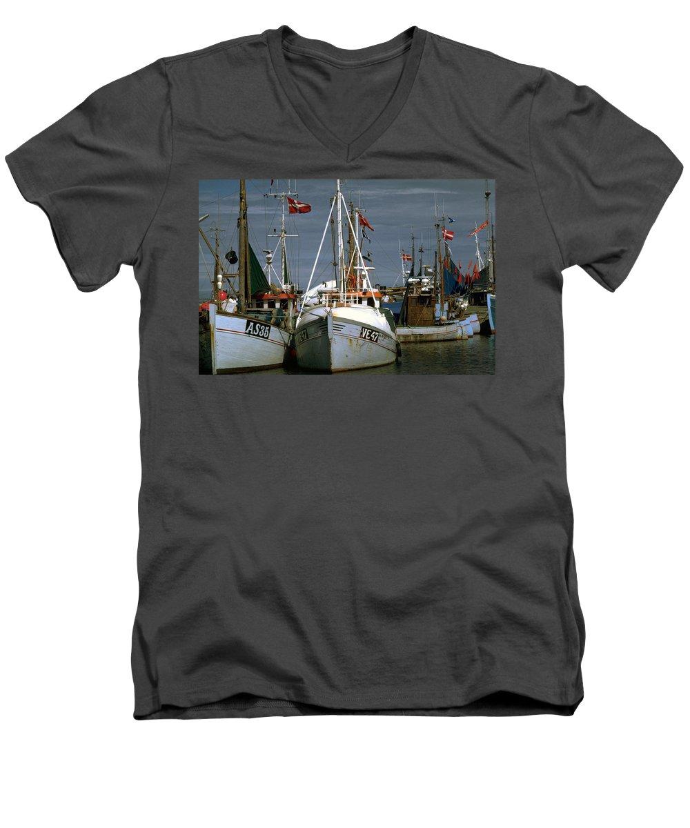 Scandinavian Men's V-Neck T-Shirt featuring the photograph Scandinavian Fisher Boats by Flavia Westerwelle
