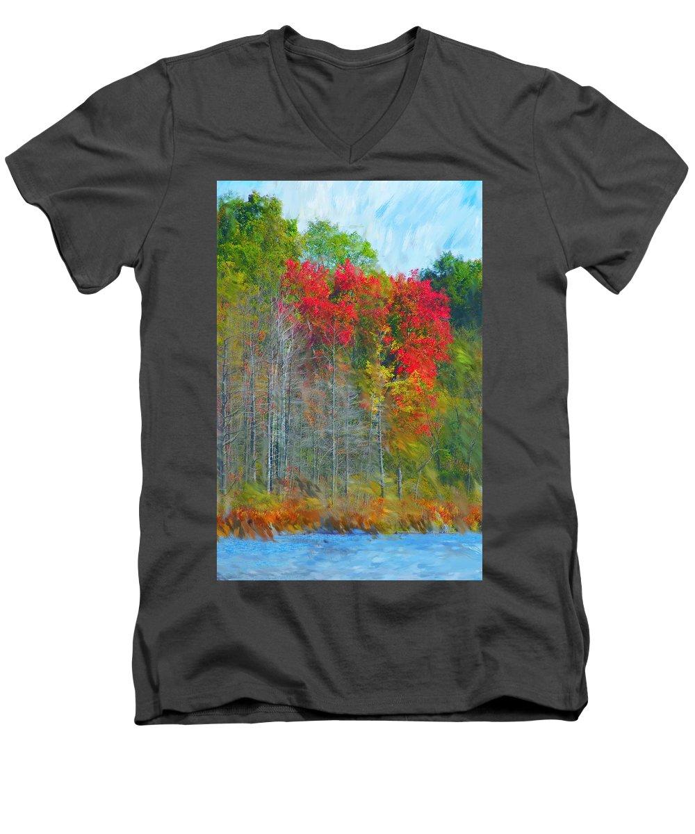Landscape Men's V-Neck T-Shirt featuring the digital art Scarlet Autumn Burst by David Lane