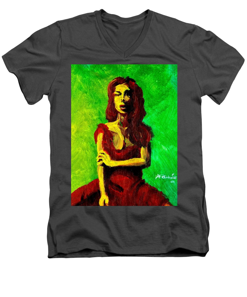 Expressionist Men's V-Neck T-Shirt featuring the painting Scarlet by Jason Reinhardt