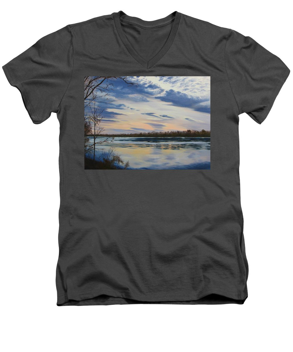 Clouds Men's V-Neck T-Shirt featuring the painting Scenic Overlook - Delaware River by Lea Novak
