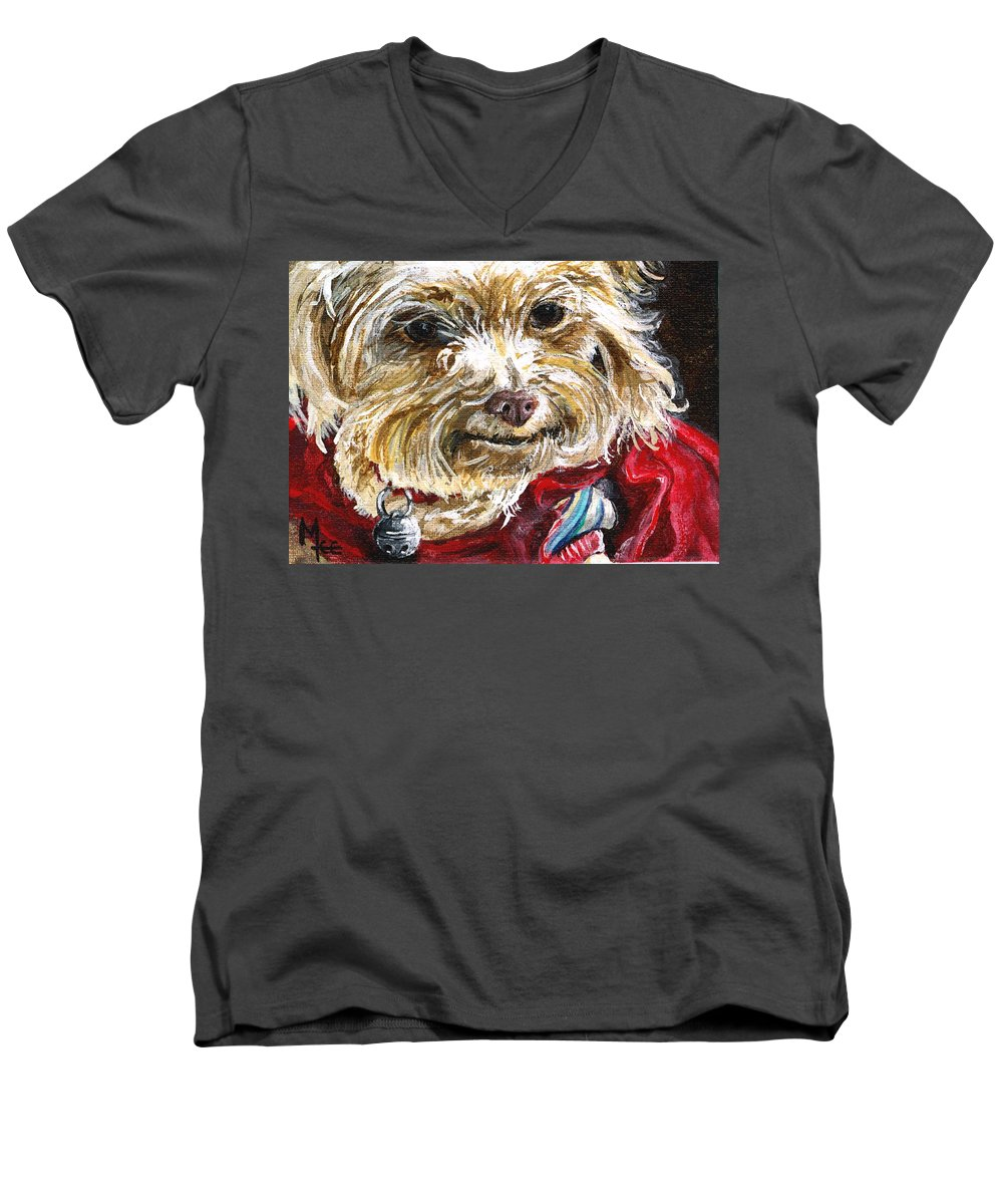Charity Men's V-Neck T-Shirt featuring the painting Scooter From Muttville by Mary-Lee Sanders