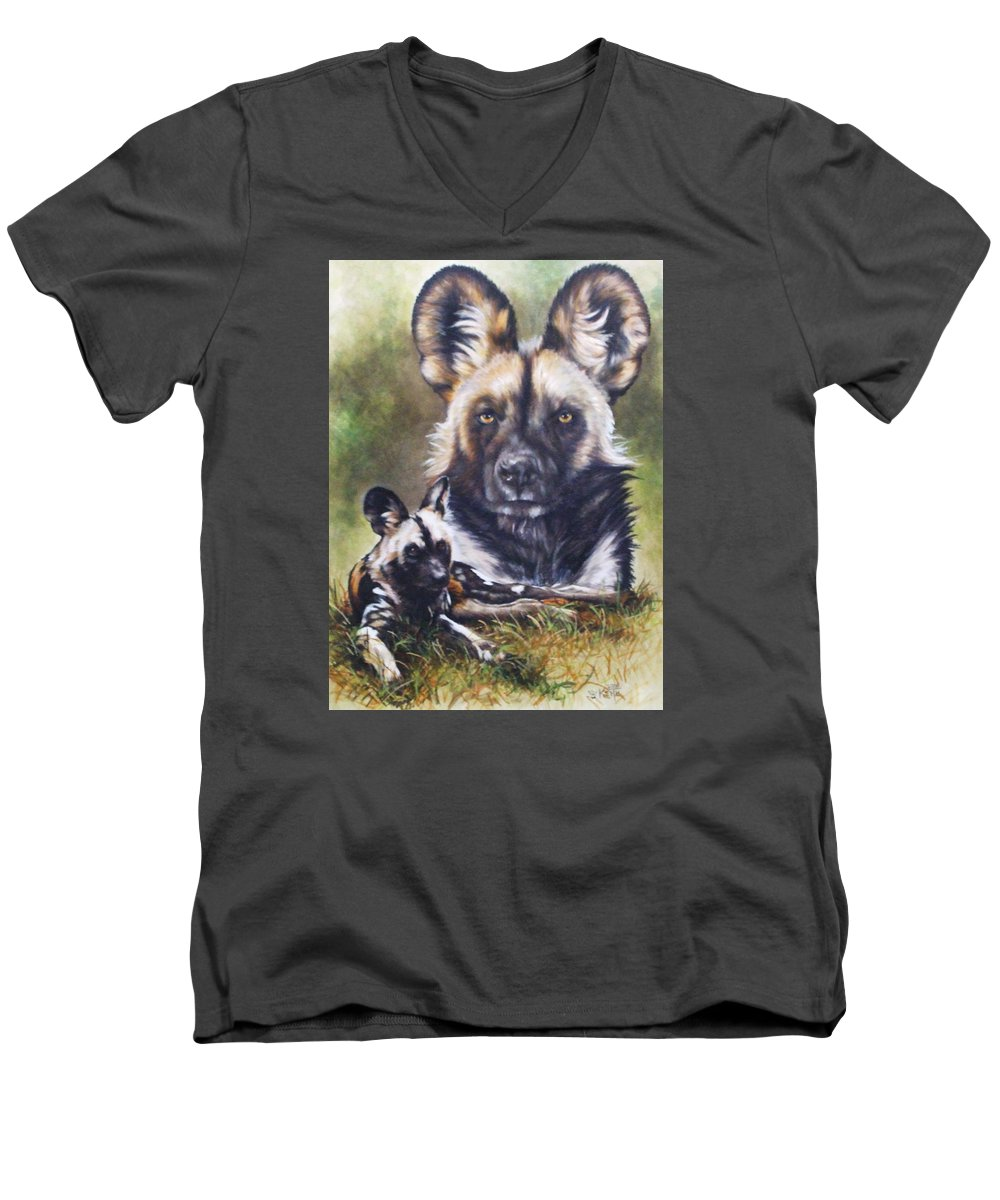 Wild Dogs Men's V-Neck T-Shirt featuring the mixed media Scoundrel by Barbara Keith