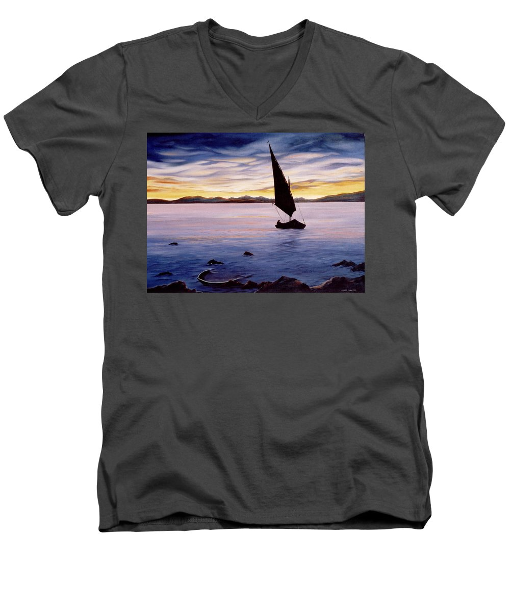 Seascape Men's V-Neck T-Shirt featuring the painting Sea Of Souls by Mark Cawood