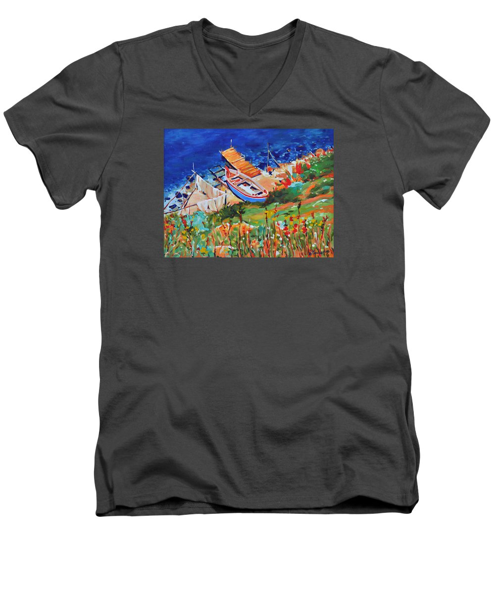 Seascape Men's V-Neck T-Shirt featuring the painting Seacoast by Iliyan Bozhanov