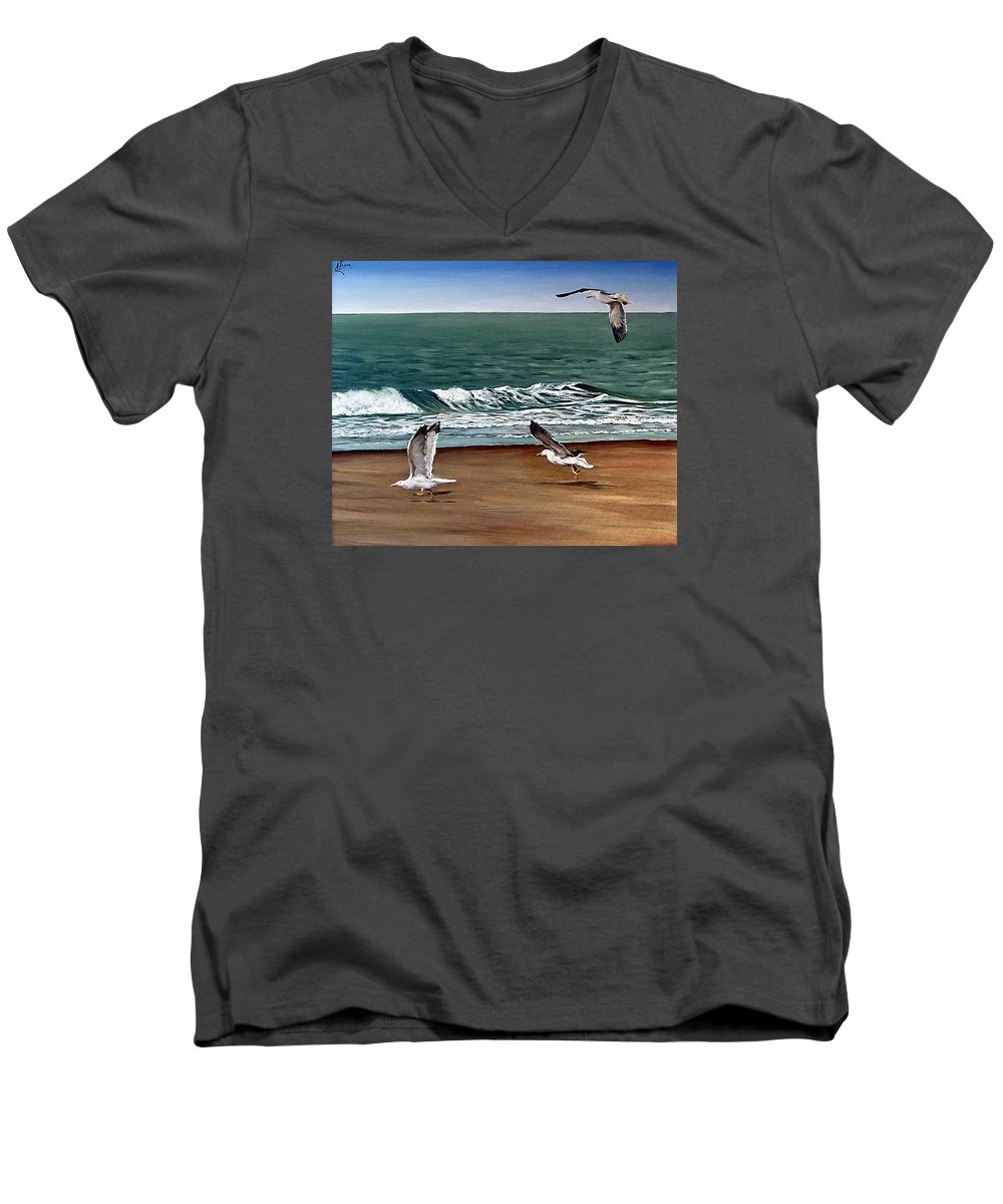 Seascape Men's V-Neck T-Shirt featuring the painting Seagulls 2 by Natalia Tejera