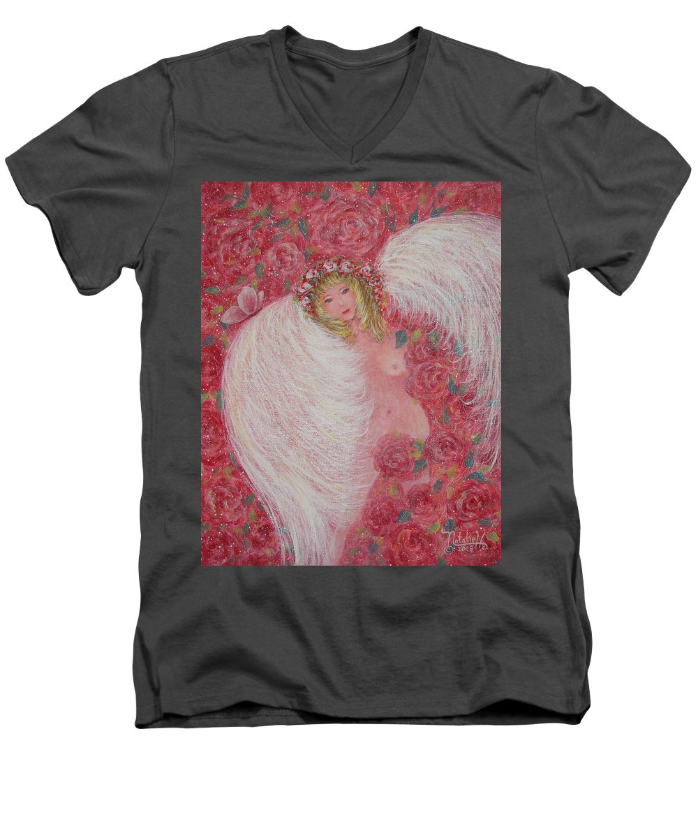 Angel Men's V-Neck T-Shirt featuring the painting Secret Garden Angel 6 by Natalie Holland