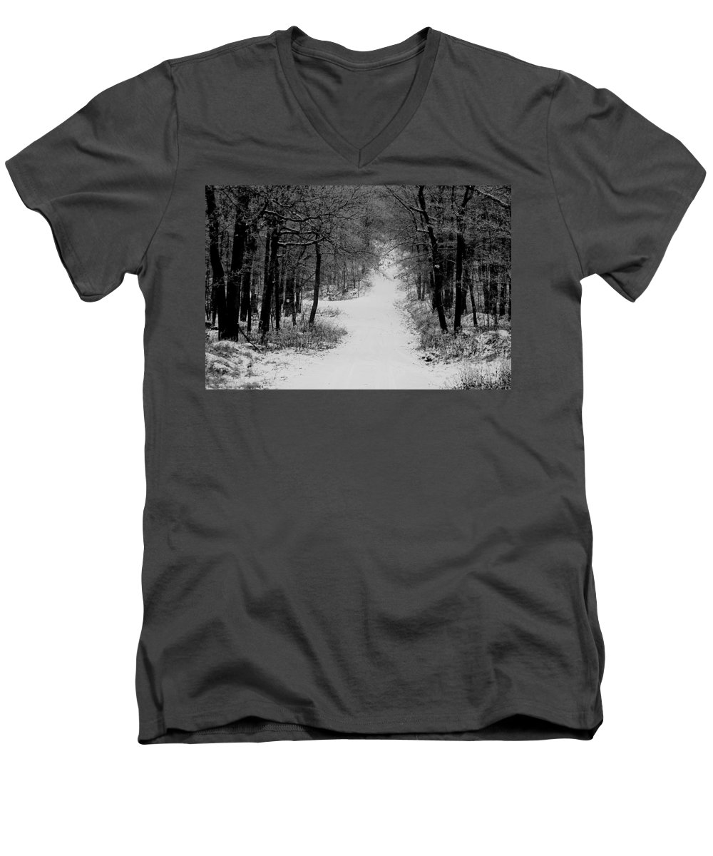 Snow Men's V-Neck T-Shirt featuring the photograph See Where It Leads. by Jean Macaluso