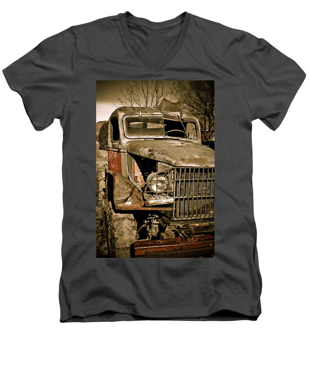 Old Vintage Antique Truck Worn Western Men's V-Neck T-Shirt featuring the photograph Seen Better Days by Marilyn Hunt