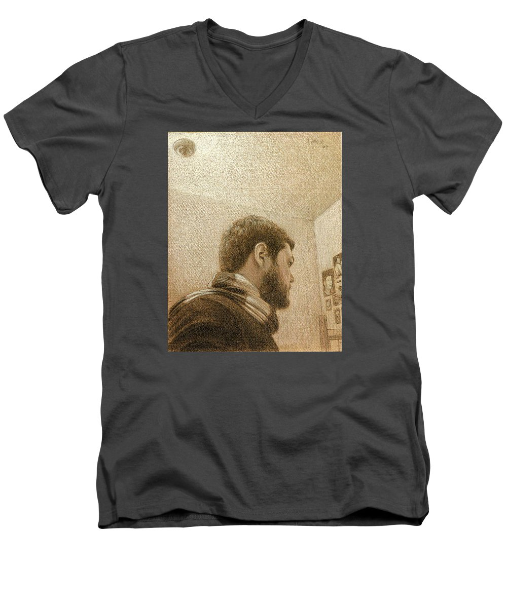 Men's V-Neck T-Shirt featuring the painting Self by Joe Velez