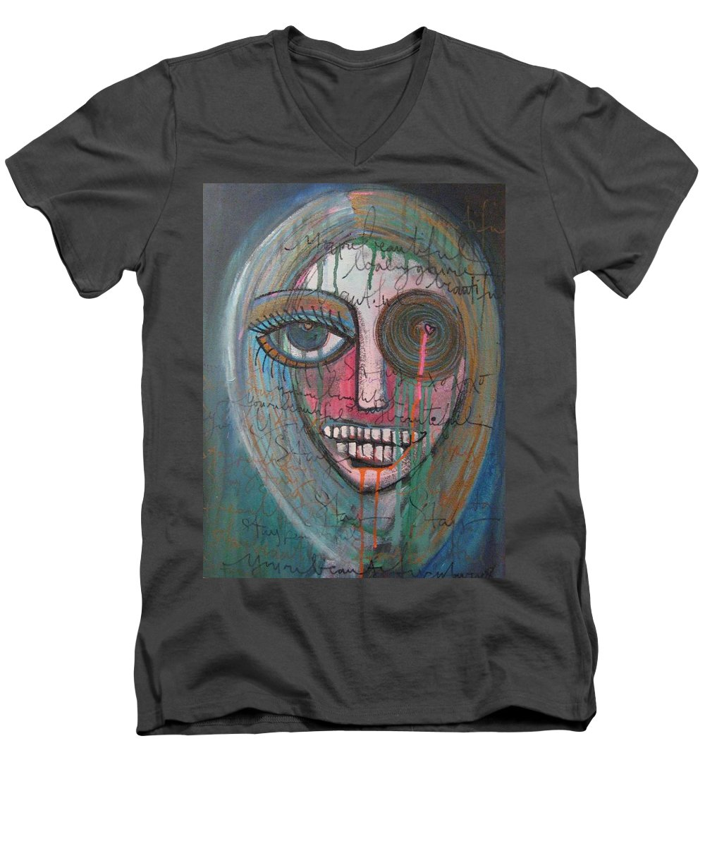 Self Portraits Men's V-Neck T-Shirt featuring the painting Self Portrait Youre Beautiful by Laurie Maves ART