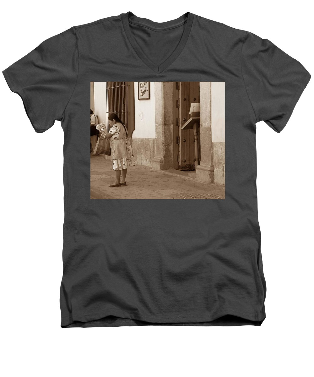 Charity Men's V-Neck T-Shirt featuring the photograph Senora by Mary-Lee Sanders