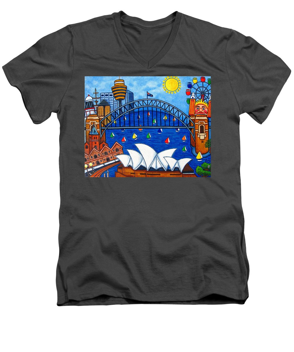 House Men's V-Neck T-Shirt featuring the painting Sensational Sydney by Lisa Lorenz